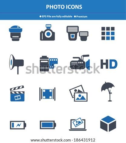 Photo icons,Blue version,vector - stock vector