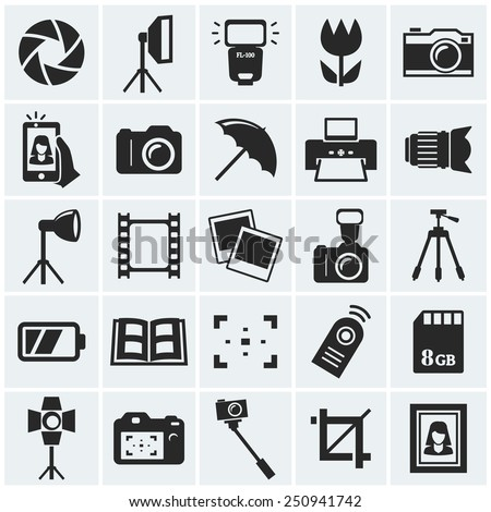 Photo icons. Set of 25 black symbols for a photographic theme. Vector collection of silhouette elements.   - stock vector