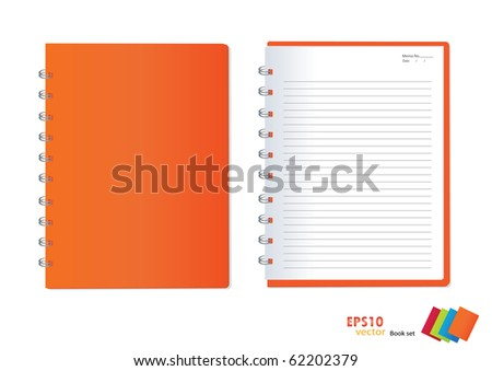 Photo of  orange notebook (blank paper). Vector illustration. - stock vector