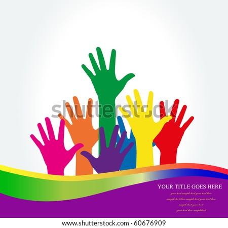 Photo of raised hands .Vector  Illustration - stock vector
