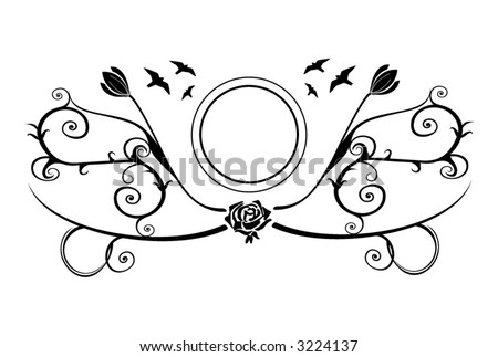 Photo or text vector frame with flowers and birds. - stock vector