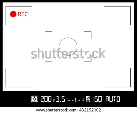 Photo or video camera viewfinder grid screen with AF dot, exposure and camera settings. Recording led blinked. Vector background - stock vector