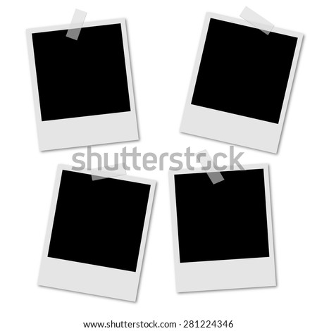 Photo Polaroid photo frame set vector - stock vector