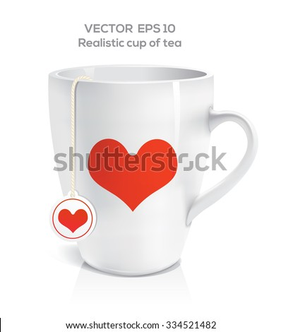 Photo realistic cup of tea with printed red heart - stock vector