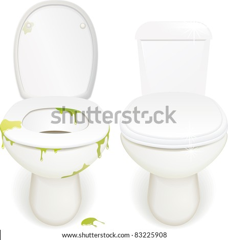 photo realistic dirty and clean toilets - stock vector