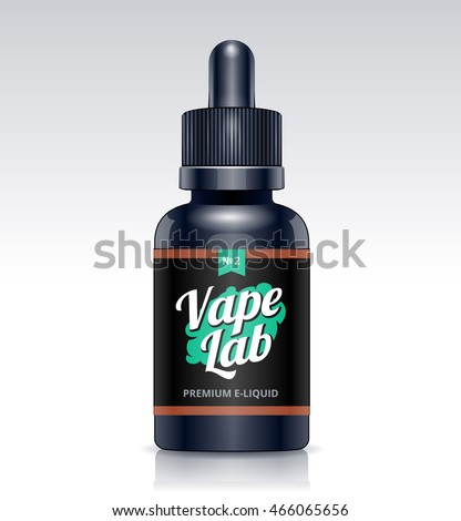 Photo realistic e-liquid bottle vector mockup.