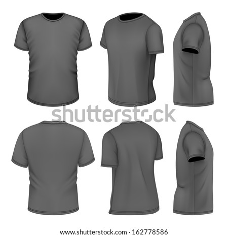 Photo-realistic vector illustration. All six views men's black short sleeve t-shirt design templates (front, back, half-turned and side views). . Illustration contains gradient mesh. - stock vector