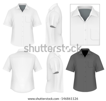 Photo-realistic vector illustration. Men's button down shirt design template (front view, back and side views). Illustration contains gradient mesh. - stock vector