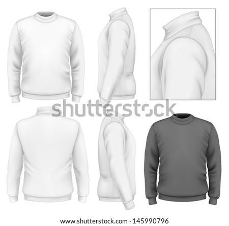 Photo-realistic vector illustration. Men's sweater design template (front view, back view, side views). Illustration contains gradient mesh. - stock vector