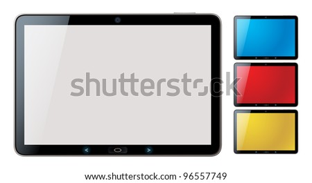 Photo-realistic vector illustration of different colored horizontal tablet pc set with copyspace on the screen - isolated