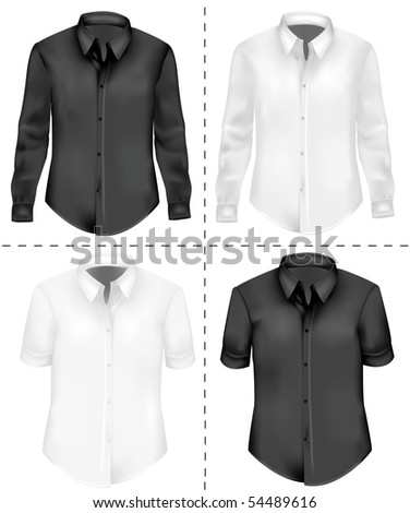 Photo-realistic vector illustration. Two T-shirts (men). Black and white - stock vector