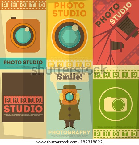 Photo Studio Poster. Set of Photographic Placards in Flat Design Retro Style. Vector Illustration. - stock vector