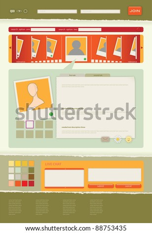 photo, video blog or dating service interface template in summer shades - stock vector