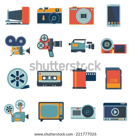 Photo video camera and multimedia equipment flat icons set isolated vector illustration - stock vector