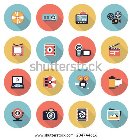 Photo & video modern flat color icons. - stock vector