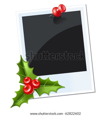 photo with red thumbtack. christmas mistletoe - stock vector