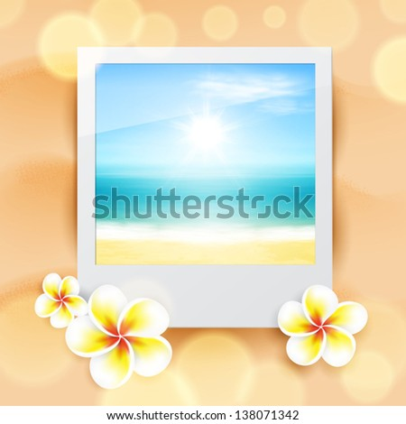 Photo with sea, on sand. EPS10 vector. - stock vector