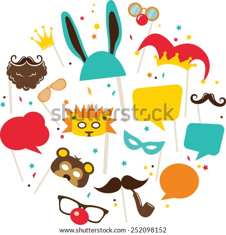 Photobooth Birthday and Party Set - glasses, hats, crowns, masks, lips, mustaches - stock vector