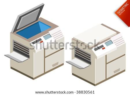 Photocopy Isometric - stock vector