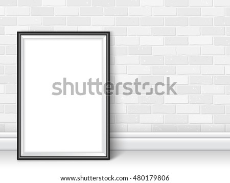 Photoframe template near white brick wall. Black picture framing mockup. Frame on the floor with realistic shadows. Vector template for presentation your photo art, posters, photos or other crafts.