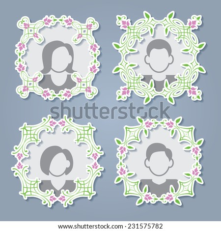 Photoframes set collections. Floral design elements, ornamental vintage cute frames with white border stroke and shadows isolated  on blue background. Vector illustration. - stock vector