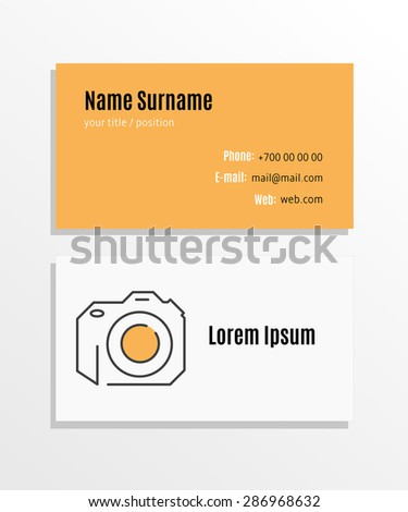 Photographer Business card template - stock vector