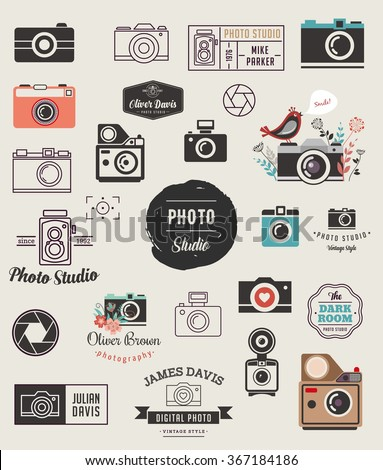 Photographer, cameras, photo studio elements, icons set - stock vector