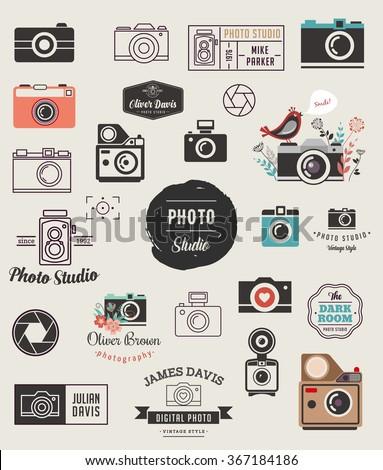 Photographer, cameras, photo studio elements, icons set - stock vector
