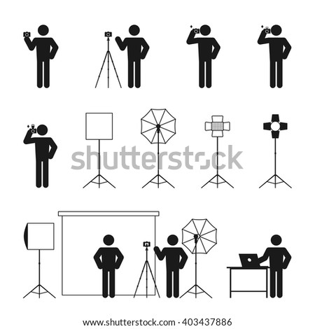 Photographer man story icon set illustration pictogram black and white color isolated on white background - stock vector