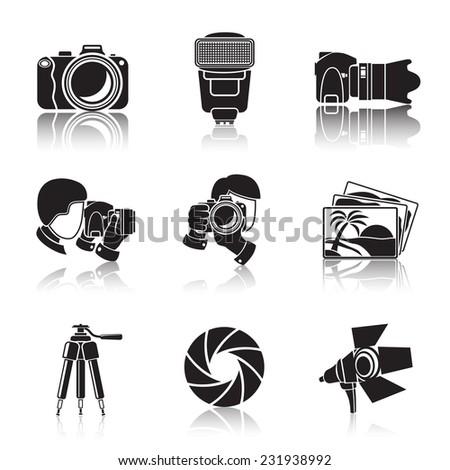 Photographer monochrome icons set with reflections- shutter, camera, photos, shooting photographers, flash, tripod, spotlight. Vector - stock vector