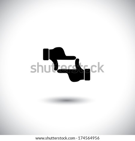 photographer's hand gesture of process of taking a photo. This vector graphic is a simple vector representation of framing a photo or video, film making, director's vision, motion picture making, etc - stock vector