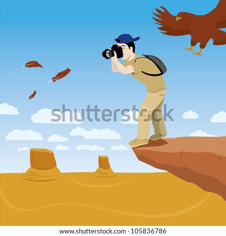 photographer standing on a rock cliff - stock vector