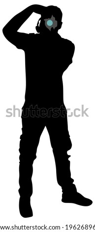 photographer taking a picture, vector - stock vector