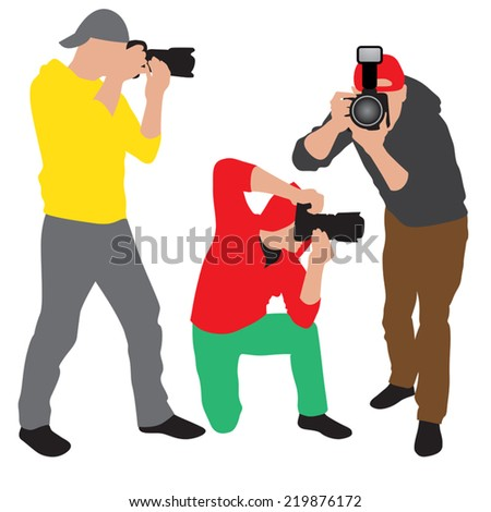 Photographer with equipment at work. Vector illustration - stock vector