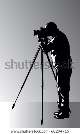 Photographer with tripod vector image - stock vector