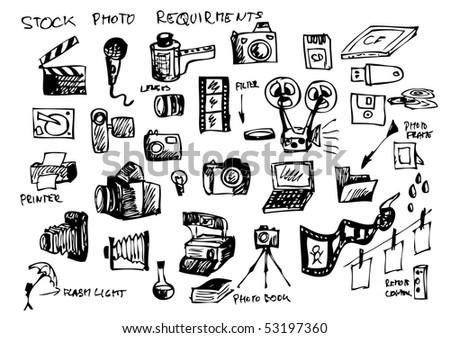 photographers hand drawn symbols set - stock vector