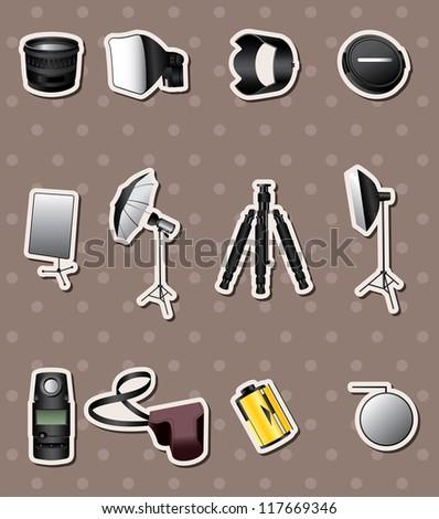 Photographic equipment stickers - stock vector
