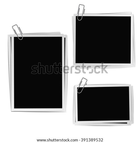 Photographic Frames Office Clips Composition Set Stock Vector ...