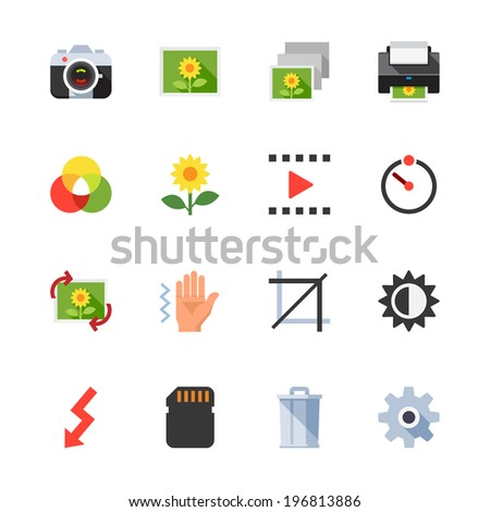 Photography and Camera Function Icons : Flat Icon Set for Web and Mobile Application - stock vector