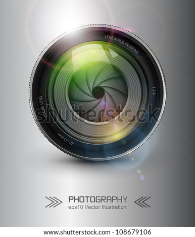 Photography background,  camera photo lens with flare. - stock vector