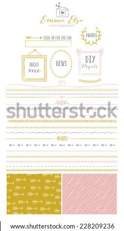 Photography Blog Kit Element for Website Design - stock vector