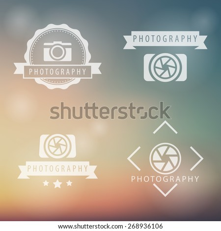 photography, camera, photographer logo, emblems on blur background, vector illustration, eps10, easy to edit - stock vector