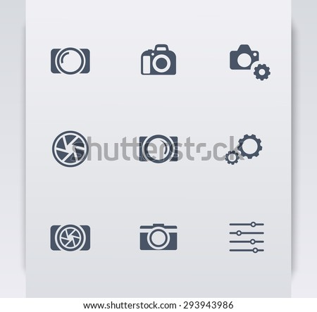 photography, camera, settings blue flat icons, vector illustration, eps10, easy to edit - stock vector