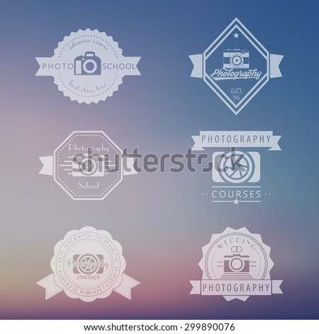 photography courses, photo school, photographer logo, emblems, signs, badges, vector illustration, eps10, easy to edit - stock vector