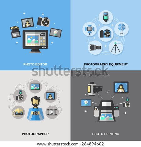 Photography design concept set with equipment photo editor and printing photographer isolated vector illustration - stock vector