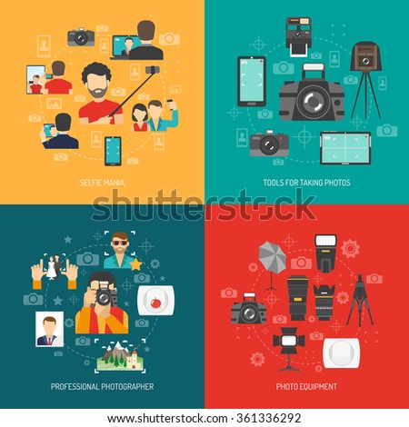 Photography design concept set with professional photo equipment and selfie flat icons isolated vector illustration - stock vector