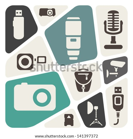 Photography devices abstract background - stock vector