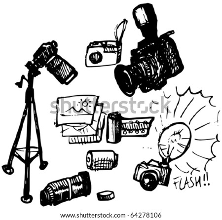 Photography Doodles - stock vector