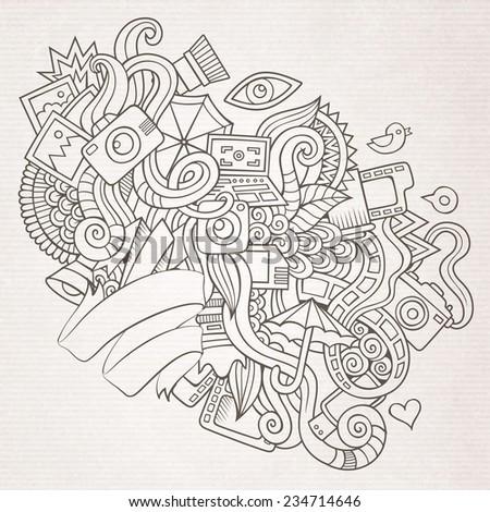 Photography doodles elements sketch background. Vector illustration - stock vector