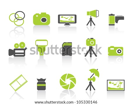 photography element icon,green series - stock vector